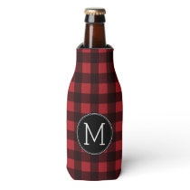 Rustic Red & Black Buffalo Plaid Pattern Monogram Bottle Cooler