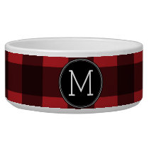 Rustic Red & Black Buffalo Plaid Pattern Monogram Bowl