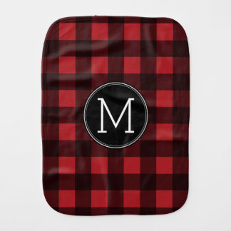 Rustic Red & Black Buffalo Plaid Pattern Monogram Burp Cloth