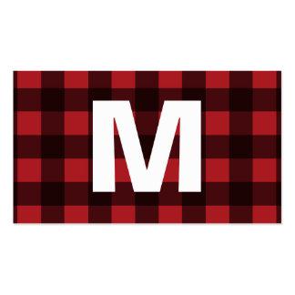 Rustic Red & Black Buffalo Plaid Pattern Monogram Business Card
