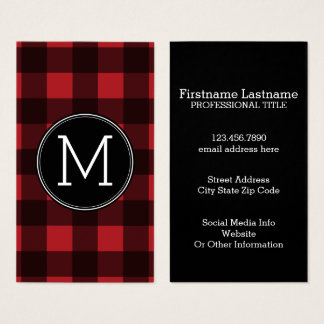 Rustic Red & Black Buffalo Plaid Pattern Monogram Business Card