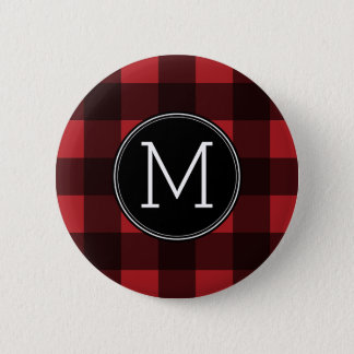 Rustic Red & Black Buffalo Plaid Pattern Monogram Button
