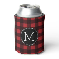 Rustic Red & Black Buffalo Plaid Pattern Monogram Can Cooler