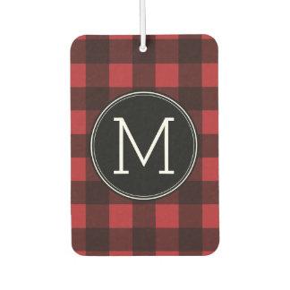 Rustic Red & Black Buffalo Plaid Pattern Monogram Car Air Freshener