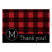 Rustic Red & Black Buffalo Plaid Pattern Monogram Card