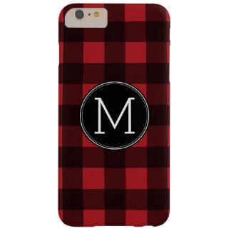 Rustic Red & Black Buffalo Plaid Pattern Monogram iPhone 6 Plus Case