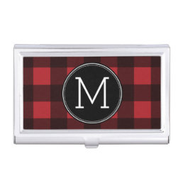 Rustic Red & Black Buffalo Plaid Pattern Monogram Case For Business Cards