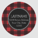 Rustic Red & Black Buffalo Plaid Pattern Monogram Classic Round Sticker