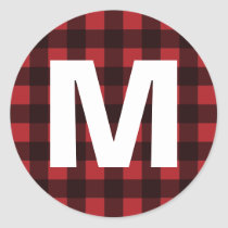 Rustic Red & Black Buffalo Plaid Pattern Monogram Classic Round Sticker