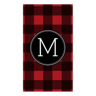 Rustic Red & Black Buffalo Plaid Pattern Monogram Double-Sided Standard Business Cards (Pack Of 100)