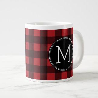 Rustic Red & Black Buffalo Plaid Pattern Monogram Giant Coffee Mug