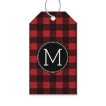 Rustic Red & Black Buffalo Plaid Pattern Monogram Gift Tags