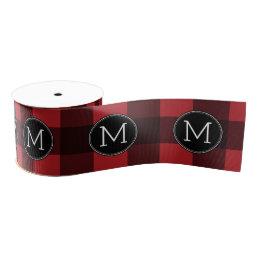 Rustic Red & Black Buffalo Plaid Pattern Monogram Grosgrain Ribbon