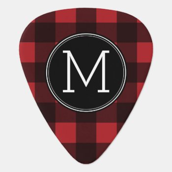Rustic Red & Black Buffalo Plaid Pattern Monogram Guitar Pick by MarshEnterprises at Zazzle