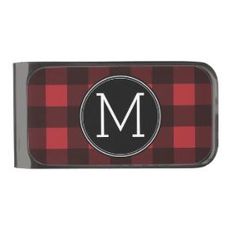 Rustic Red & Black Buffalo Plaid Pattern Monogram Gunmetal Finish Money Clip