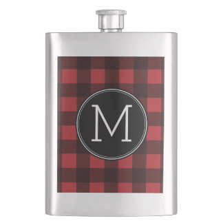 Rustic Red & Black Buffalo Plaid Pattern Monogram Hip Flask