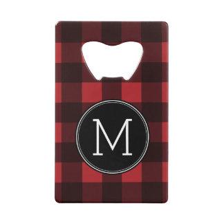 Rustic Red & Black Buffalo Plaid Pattern Monogram Wallet Bottle Opener