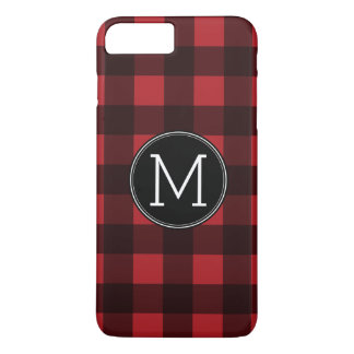 Rustic Red & Black Buffalo Plaid Pattern Monogram iPhone 7 Plus Case