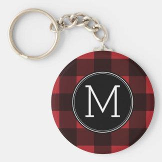 Rustic Red & Black Buffalo Plaid Pattern Monogram Key Chains