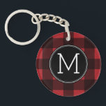 """Rustic Red &amp; Black Buffalo Plaid Pattern Monogram Keychain<br><div class=""""desc"""">A rugged and masculine design with an area for monograms. A classic, traditional pattern that has been around for years. If you need to adjust the artwork or change the font, you can click on the customize area. This will take you to the design tool where you can make many...</div>"""