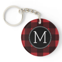 Rustic Red & Black Buffalo Plaid Pattern Monogram Keychain