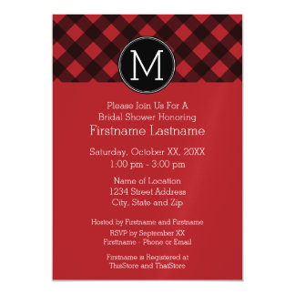 Rustic Red & Black Buffalo Plaid Pattern Monogram Magnetic Card