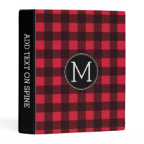Rustic Red & Black Buffalo Plaid Pattern Monogram Mini Binder