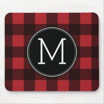 Rustic Red & Black Buffalo Plaid Pattern Monogram Mouse Pad