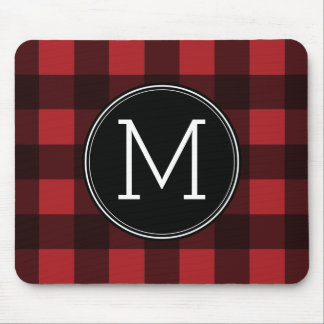 Rustic Red & Black Buffalo Plaid Pattern Monogram Mouse Pad