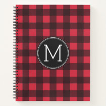 Rustic Red & Black Buffalo Plaid Pattern Monogram Notebook