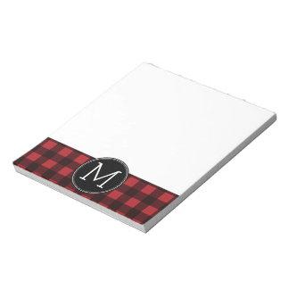 Rustic Red & Black Buffalo Plaid Pattern Monogram Notepad