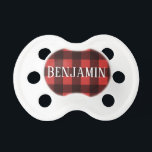 "Rustic Red &amp; Black Buffalo Plaid Pattern Monogram Pacifier<br><div class=""desc"">A rugged and masculine design with an area for monograms. A classic, traditional pattern that has been around for years. If you need to adjust the artwork or change the font, you can click on the customize area. This will take you to the design tool where you can make many...</div>"