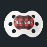 "Rustic Red & Black Buffalo Plaid Pattern Monogram Pacifier<br><div class=""desc"">A rugged and masculine design with an area for monograms. A classic, traditional pattern that has been around for years. If you need to adjust the artwork or change the font, you can click on the customize area. This will take you to the design tool where you can make many...</div>"