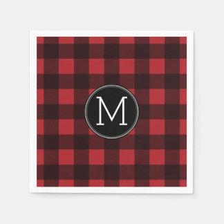 Rustic Red & Black Buffalo Plaid Pattern Monogram Disposable Napkins
