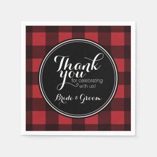 Rustic Red & Black Buffalo Plaid Pattern Monogram Paper Napkin