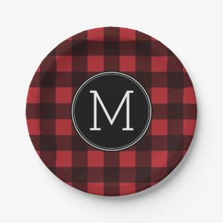 Rustic Red & Black Buffalo Plaid Pattern Monogram Paper Plate