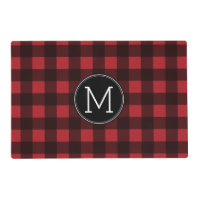Rustic Red & Black Buffalo Plaid Pattern Monogram Placemat