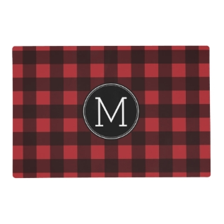 Rustic Red & Black Buffalo Plaid Pattern Monogram Placemat at Zazzle