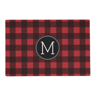 Rustic Red & Black Buffalo Plaid Pattern Monogram Placemat