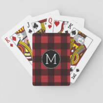Rustic Red & Black Buffalo Plaid Pattern Monogram Playing Cards