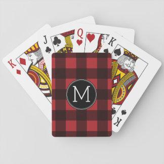 Rustic Red & Black Buffalo Plaid Pattern Monogram Playing Cards