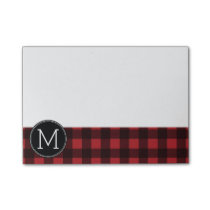Rustic Red & Black Buffalo Plaid Pattern Monogram Post-it Notes
