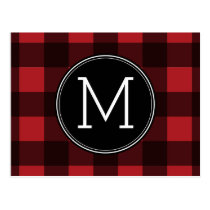 Rustic Red & Black Buffalo Plaid Pattern Monogram Postcard