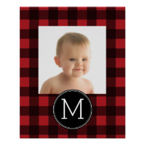 Rustic Red & Black Buffalo Plaid Pattern Monogram Poster
