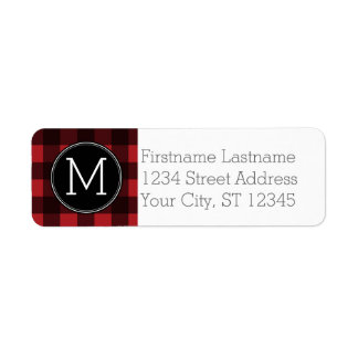 Rustic Red & Black Buffalo Plaid Pattern Monogram Return Address Label