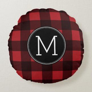 Rustic Red & Black Buffalo Plaid Pattern Monogram Round Pillow