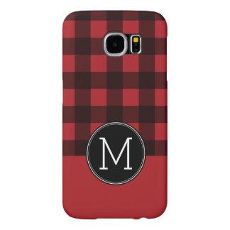 Rustic Red & Black Buffalo Plaid Pattern Monogram Samsung Galaxy S6 Cases