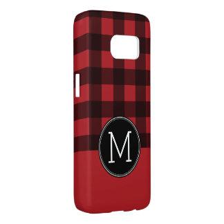 Rustic Red & Black Buffalo Plaid Pattern Monogram Samsung Galaxy S7 Case