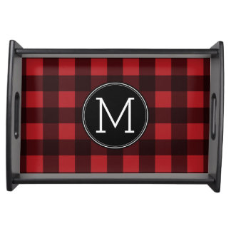 Rustic Red & Black Buffalo Plaid Pattern Monogram Serving Tray