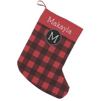 Rustic Red & Black Buffalo Plaid Pattern Monogram Small Christmas Stocking